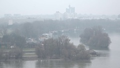 The mouth of the Sava and Danube in Belgrade,Serbia Stock Footage