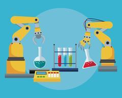 Industrial robotic arm chemical test tube laboratory Stock Illustration