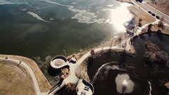 2016: overview of a body of water with a path crossing it COLORADO Stock Footage