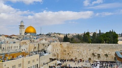 Time lapse - Aerial view of Jerusalem's western wall Stock Footage