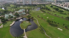 Aerial video Golf course club house Hallandale FL Stock Footage