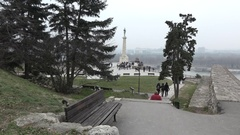 Statue of the Victor in Kalemegdan park in Belgrade,Serbia Stock Footage