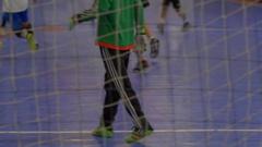 A goalie for futsal youth soccer football. Stock Footage