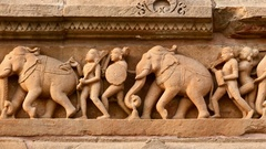 Stone carving bas relief, Lakshmana Temple, Khajuraho, India Stock Footage