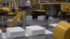Conveyor full of milk products at daity factory Stock Footage