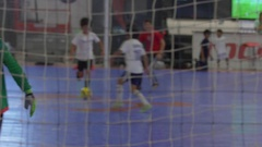 A goalie for futsal youth soccer football. Stock Footage
