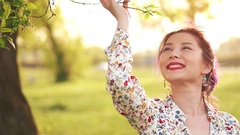Beauty Girl Outdoors enjoying the nature Stock Footage