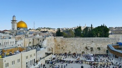 Aerial view of Jerusalem's western wall Stock Footage
