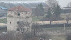 The lower part of Kalemegdan with Nebojsa tower and composition of the train Stock Footage