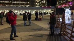 Christmas lights in Moose / elk shape at Sergelstorg in central Stockholm Stock Footage