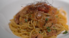 Close-up shot of eating pasta dish in restaurant Stock Footage