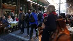4K Sidewalk Restaurant Food street in Plaka Athens Greece Europe Stock Footage