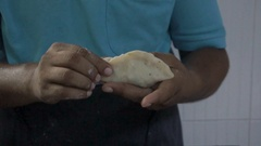 Indian chef making samosa Stock Footage