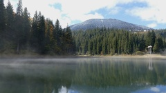 Very beautiful mountain lake in the early autumn. Stock Footage