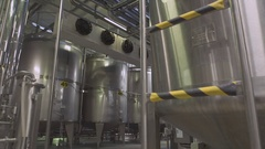 Cistern at the dairy new bright milk factory Stock Footage