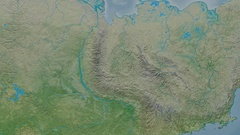 Zoom into Verkhoyansk mountain range - masks. Topographic map Stock Footage