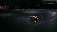 Beautiful woman at gym pushup workout exercise in the gym Stock Footage