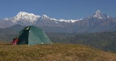 Tourist camp in the Himalayan mountains near Annapurna ridge Stock Footage