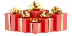 Red Gift Boxes with Golden Bow and Ribbon, 3D rendering Stock Illustration