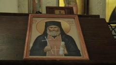 Icon in the Church Stock Footage