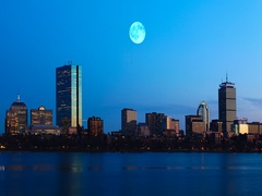 4K UltraHD Full Moon over Boston Stock Footage