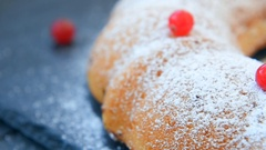 Fresh cranberry cake with powdered sugar Stock Footage