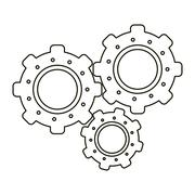 Set gear wheel engine teamwork outline Stock Illustration