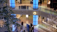 Tilt shot of people shopping inside mall Stock Footage