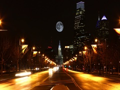 4K UltraHD Full Moon rising over Philadelphia, Pennsylvania Stock Footage