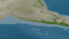 Revolution around Western Ghats mountain range - masks. Satellite imagery Stock Footage