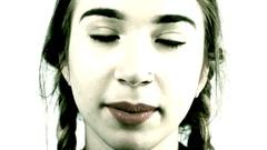 A beautiful girl speaks Stock Footage