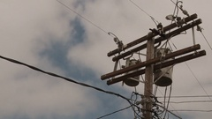 Time Lapse of a Telephone Pole / Power Line on a Cloudy Day Stock Footage