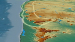 Glide over Western Ghats mountain range - glowed. Relief map Stock Footage