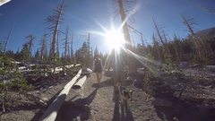 A boy hiking on a trail with his dog in the mountains, slow motion. Stock Footage