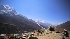 Panorama of Dingboche valley with peaks and Dingboche village beneath. Himalaya Stock Footage