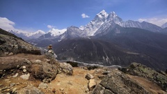 Panoramic view of Khumbu Valley and magical Himalaya range under blue sky. Nepal Stock Footage