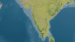 Zoom into Western Ghats mountain range - masks. Topographic map Stock Footage