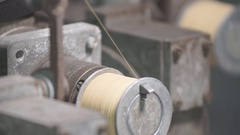 Coiled Copper Thread on a Spool Stock Footage