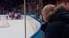 Fan looks hockey fighting Stock Footage