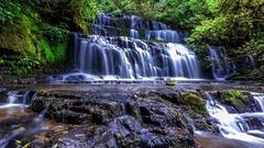 Purakaunui Falls in The Catlins, Southland, New Zealand Stock Footage