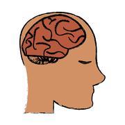 Profile head brain idea imagination sketch Stock Illustration