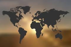 World Map Sunset Illustration Stock Illustration