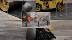 Mix footage of paving Stock Footage