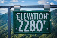 Elevation sign on Chimney Rock, at Chimney Rock State Park, North Carolina. Stock Photos
