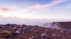 Foggy sunrise over Tongariro National Park, New Zealand Stock Footage