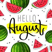 Hello August. Fashionable calligraphy Stock Illustration