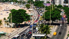 Time lapse of day traffic of people and cars on Copacabana beach, Rio de Janeiro Stock Footage