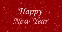 Happy New Year text formed from dust and turns to dust horizontally on red Stock Footage