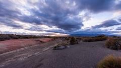 Sunset over Rangipo Desert, Tongariro National Park, New Zealand Stock Footage