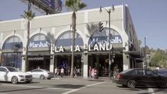 La La Land and Marshalls store on Hollywood Boulevard Los Angeles California LA Stock Footage